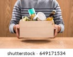 volunteer with donation box... | Shutterstock . vector #649171534