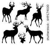 Deer Silhouette Set. Vector...