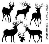 deer silhouette set. vector... | Shutterstock .eps vector #649174030