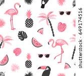 seamless tropical trendy... | Shutterstock .eps vector #649174516
