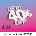 sale 40  off banner. vector... | Shutterstock .eps vector #649178743