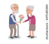 loving elderly man gives... | Shutterstock .eps vector #649180384