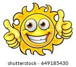 a sun cartoon character mascot... | Shutterstock .eps vector #649185430