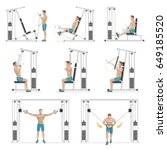 gym exercises machines sports... | Shutterstock .eps vector #649185520