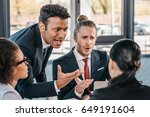 young emotional businesspeople... | Shutterstock . vector #649191604
