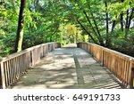 wooden bridge in summer  with... | Shutterstock . vector #649191733