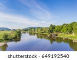 Small photo of River Weser and old wooden mill near Minden, Germany