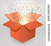 open red gift box and confetti. | Shutterstock .eps vector #649194544