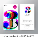 logo number 3 business card... | Shutterstock .eps vector #649194970