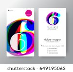 logo number 6 business card... | Shutterstock .eps vector #649195063