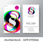 logo number 8 business card... | Shutterstock .eps vector #649195066
