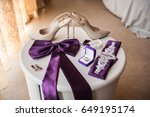 wedding accessories  shoes on... | Shutterstock . vector #649195174