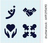 set of 4 hands filled icons... | Shutterstock .eps vector #649195690