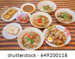 many dishes on table  thai food.... | Shutterstock . vector #649200118