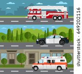 fire truck  police and... | Shutterstock .eps vector #649202116