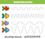 handwriting practice sheet.... | Shutterstock .eps vector #649209499