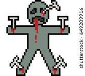 vector pixel art curse doll | Shutterstock .eps vector #649209916