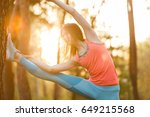 young woman in morning exercise | Shutterstock . vector #649215568