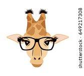 giraffe hipster animal wearing... | Shutterstock .eps vector #649217308