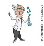 cartoon mad scientist making a... | Shutterstock .eps vector #649220329
