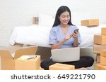 young asian woman business... | Shutterstock . vector #649221790