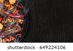 barbecue garden grill with beef ... | Shutterstock . vector #649224106