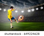 soccer or football player is... | Shutterstock . vector #649224628