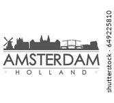 amsterdam skyline silhouette... | Shutterstock .eps vector #649225810