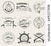 set of vintage fishing labels ... | Shutterstock . vector #649227508