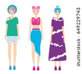 young modern girls with... | Shutterstock .eps vector #649229743