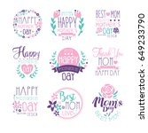 happy mothers day logo hand... | Shutterstock .eps vector #649233790