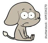 cartoon unsure elephant sat on...   Shutterstock .eps vector #649234270