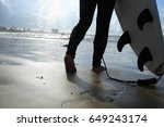 young woman surfer with... | Shutterstock . vector #649243174