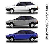 realistic car. hatchback. set. | Shutterstock .eps vector #649245880