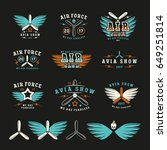 set of air force and air show... | Shutterstock .eps vector #649251814
