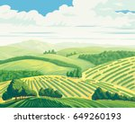 rural landscape with hills and... | Shutterstock .eps vector #649260193