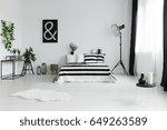 minimalist bedroom with fur rug ... | Shutterstock . vector #649263589