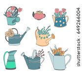 cute hand drawn vector watering ... | Shutterstock .eps vector #649266004