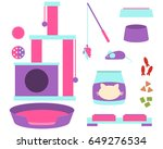 a set of accessories for a cat... | Shutterstock .eps vector #649276534
