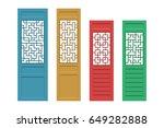 set of rectangle chinese door...   Shutterstock .eps vector #649282888