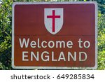welcome to england road sign at ...   Shutterstock . vector #649285834
