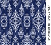 blue ikat ogee and damascus... | Shutterstock .eps vector #649287664