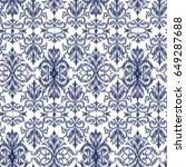 blue ikat ogee and damascus... | Shutterstock .eps vector #649287688