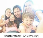 happy family taking selfie with ... | Shutterstock . vector #649291654