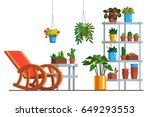 patio interior design with... | Shutterstock .eps vector #649293553