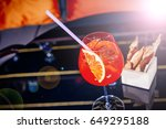 alcoholic summer cocktail... | Shutterstock . vector #649295188