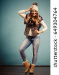 autumnal outfit concept.... | Shutterstock . vector #649304764