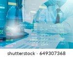 double exposure business people ... | Shutterstock . vector #649307368