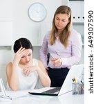 female senior manager telling... | Shutterstock . vector #649307590