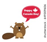 happy canada day card with a... | Shutterstock .eps vector #649309606